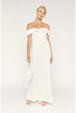 White Bridal Bardot Button Back Maxi Dress