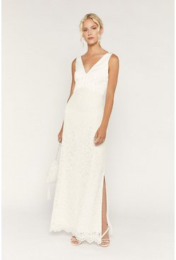 White Bridal Cowl Back Lace Maxi Dress
