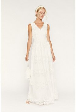 White Bridal Embroidered Tulle Maxi Dress