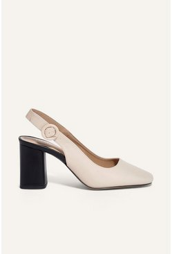 Cream Block Heel Shoe