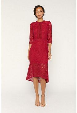 Red Lace Fishtail Dress