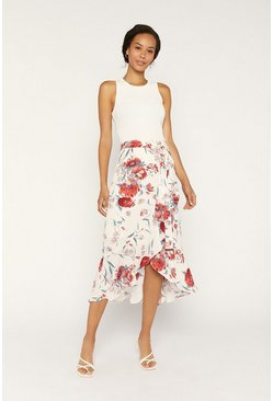 Beige Floral Wrap Frill Skirt