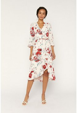 Beige Floral Wrap Frill Dress