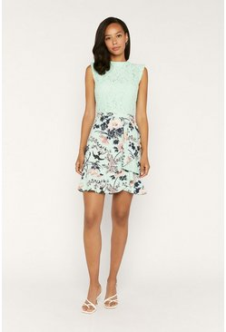 Turquoise Floral Lace Skater Dress