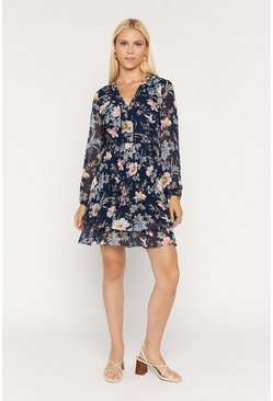 Navy Floral Pleat Skater Dress