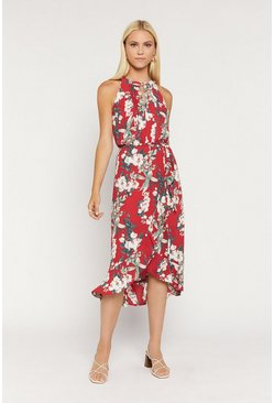 Red Tropical Floral Wrap Dress