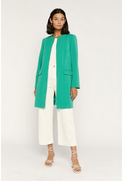 Green Collarless Zip Front Coat