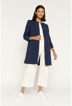 Navy Collarless Zip Front Coat