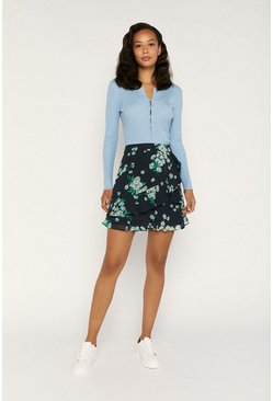 Blue Floral Flippy Ruffle Skirt