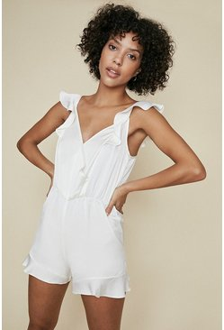 Off white Frill Teddy Playsuit