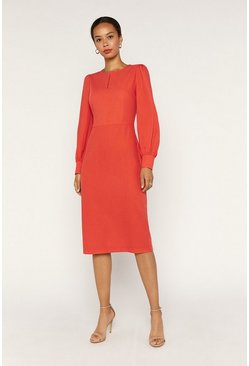 Orange Blouson Sleeve Dress