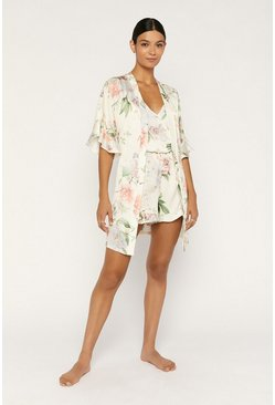 Beige Frill Printed Robe