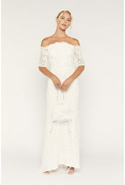 White Bridal Lace Bardot Fishtail Maxi Dress