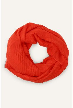 Red Plain Crinkle Scarf