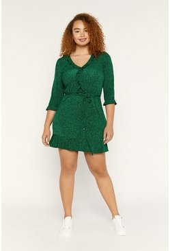 Green Ditsy Ruffle Tea Dress