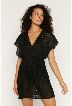 Black Crochet Look Wrap Kaftan