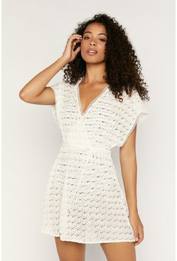 Off white Crochet Look Wrap Kaftan