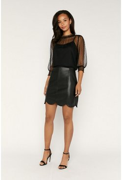 Black Faux Leather Scallop Mini Skirt