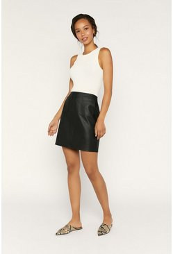 Black Faux Leather Pocket Mini Skirt