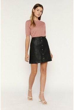 Black Faux Leather Popper Mini Skirt
