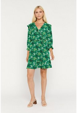 Green Floral Ruffle Wrap Dress