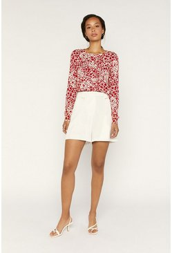 Red Heart Print Knitted Jumper