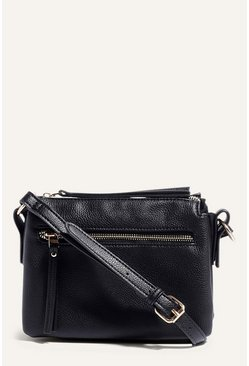 Black Multi Compartment Cross Body Bag