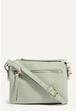 Pale green Multi Compartment Cross Body Bag