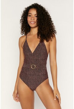 Black Textured Spot Belted Swimsuit