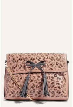 Cream Lasercut Clutch Bag