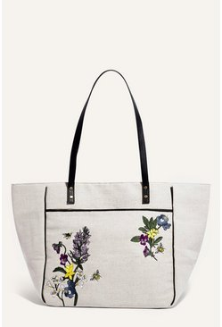 Beige Embroidered Canvas Tote