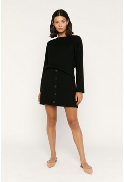 Black Button Knit Skirt