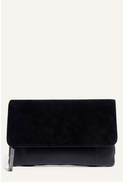 Black Casual Leather Suede Clutch