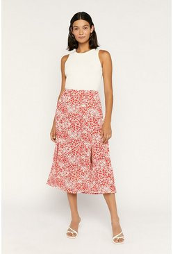 Red Heart Midi Skirt