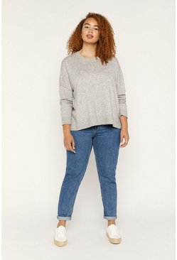 Pale grey Curve Crew Jumper