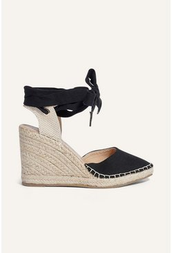 Black Pointed Espadrille Wedge