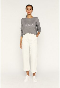 Mid grey Be Kind Embroidered Knit