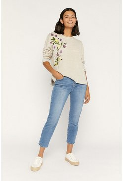 Beige Embroidered Knitted Top