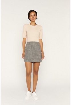 Blue Tweed Mini Skirt