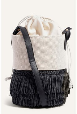 Multi Straw And Canvas Bucket Bag