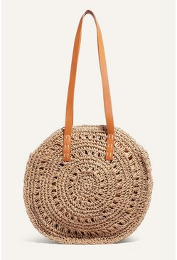 Tan Circle Straw Shopper