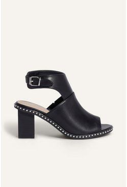 Black Studded Rand Peep Toe Shoe Boot