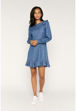 Mid blue Heart Print Ruffle Sleeve Dress