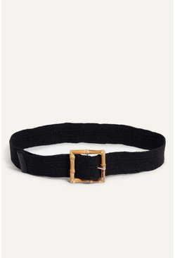 Black Bamboo Buckle Belt