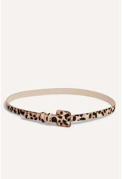 Animal Leopard Covered Buckle Belt