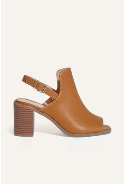 Tan Peep Toe Shoe Boot