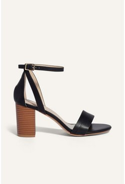 Black 2 Part Block Heel Sandal