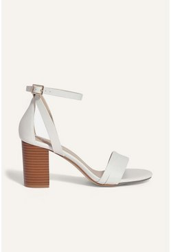 Off white 2 Part Block Heel Sandal