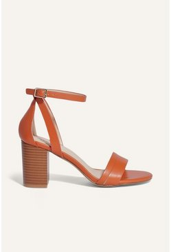 Orange 2 Part Block Heel Sandal