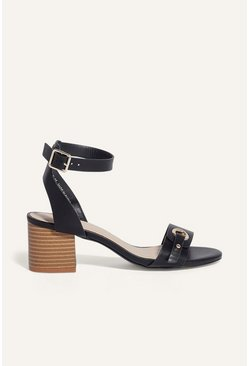 Black Stacked Mid Heel Shoe